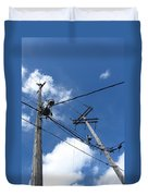 Utility Poles And Clouds 2 Duvet Cover