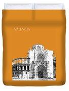 Valencia Skyline Valencia Cathedral - Dark Orange Duvet Cover