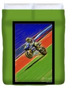 Valentino Rossi Wheely Down The Blue Red And Green Duvet Cover