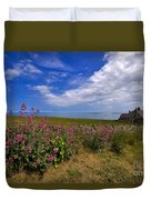 Valerian By A Stone Wall On The Northumberland Coast Duvet Cover