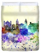 Valletta Skyline In Watercolor Background Duvet Cover