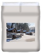 Valley Forge Cabins After A Snow Duvet Cover