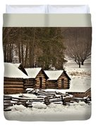 Valley Forge Cabins In Snow 2 Duvet Cover
