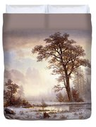 Valley Of The Yosemite Snow Fall Duvet Cover
