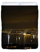 Valparaiso Harbor At Night Duvet Cover