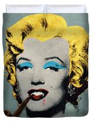 Vampire Marilyn With Surreal Pipe Duvet Cover