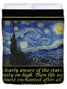 Van Gogh Motivational Quotes - Starry Night II Duvet Cover