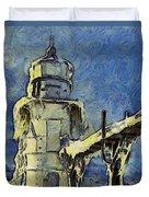 The Frozen Lighthouse Lake Michigan Duvet Cover