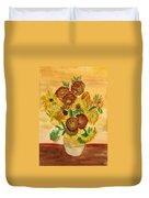 van Gogh's Sunflowers in Watercolor Duvet Cover