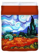 Van Goghs Wheat Field With Cypress Duvet Cover