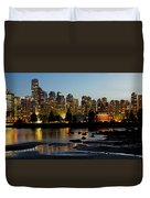 Vancouver Bc City Skyline And Deadman's Island Duvet Cover