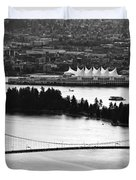 Vancouver Bc City Skyline And Lions Gate Bridge Duvet Cover