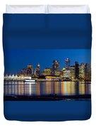 Vancouver Bc City Skyline Reflection Duvet Cover