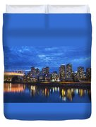 Vancouver Bc City Skyline With Bc Place At Blue Hour Duvet Cover