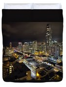 Vancouver Bc Robson Street Cityscape Duvet Cover