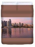 Vancouver Bc Skyline Along False Creek At Dusk Duvet Cover