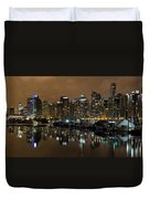 Vancouver Bc Skyline From Stanley Park At Nigh Duvet Cover