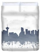 Vancouver British Columbia Skyline - Blue 03 Duvet Cover