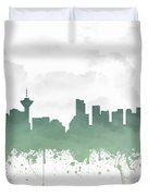 Vancouver British Columbia Skyline - Teal 03 Duvet Cover