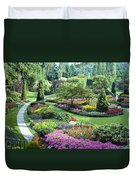 Vancouver Butchart Sunken Gardens Beautiful Flowers No People Panorama Duvet Cover