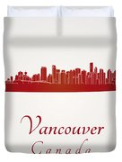 Vancouver Skyline In Red Duvet Cover