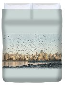 Vancouver Skyline With Crows Duvet Cover
