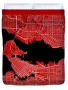 Vancouver Street Map - Vancouver Canada Road Map Art On Color Duvet Cover