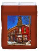 Vanishing Montreal Landmark Depanneur Ste. Emilie And Bourget Montreal Painting By Carole Spandau  Duvet Cover