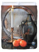 Vanitas Still Life By Candlelight With Clementines 1 Duvet Cover
