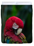 Vanity-close Up Of A Green Winged Macaw Duvet Cover