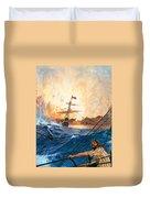 Vasco Da Gama's Ships Rounding The Cape Duvet Cover by English School