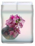 Vase Of Pretty Pink Sweet Peas 2 Duvet Cover