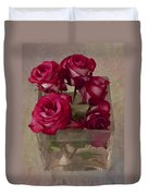 Vase Of Roses Duvet Cover