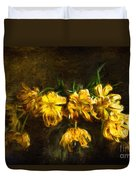 Vase Of Yellow Tulips Duvet Cover