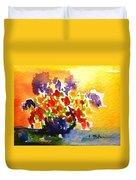 Vase With Multicolored Flowers Duvet Cover