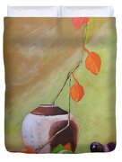 Vase With Orange Leaves And Fruit Duvet Cover