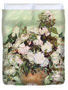 Vase With Pink Roses Duvet Cover