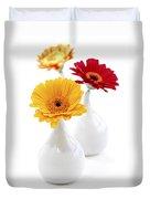 Vases With Gerbera Flowers Duvet Cover