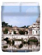 Vatican City Seen From Tiber River Duvet Cover
