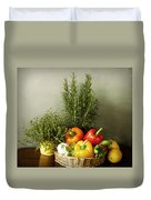 Vegetables And Aromatic Herbs In The Kitchen Duvet Cover