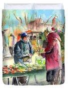 Vegetables Seller In A Provence Market Duvet Cover