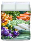 Vegetables Stand In Wet Market Duvet Cover