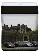 Vehicles At The Parking Lot Of Stirling Castle Duvet Cover