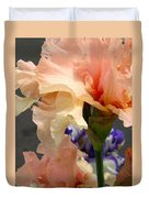 Velvety Soft Vanilla And Pink Iris Duvet Cover
