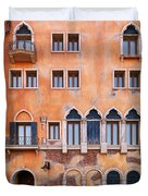 Venetian Building Wall With Windows Architectural Texture Duvet Cover