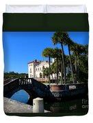 Venetian Style Bridge And Villa In Miami Duvet Cover