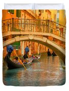 Venice Boat Bridge Oil On Canvas Duvet Cover