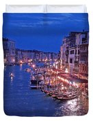 Venice - Canale Grande By Night Duvet Cover