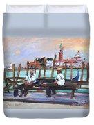Venice Gondola With Full Moon Duvet Cover