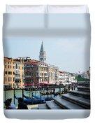 Venice Gondolas On Canal Grande Duvet Cover